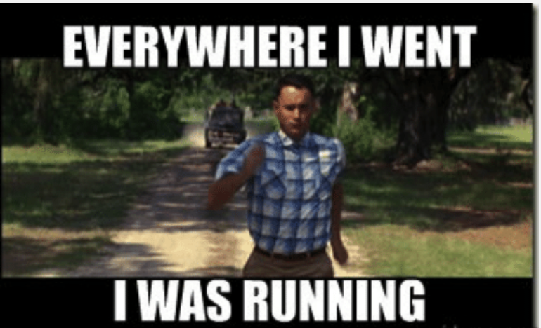 """Scene from the film """"Forrest Gump"""" as he runs from a truck."""